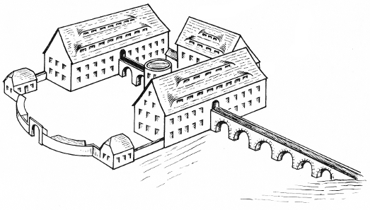 Amalgamierwerk mit dem Druckwerk in der Mitte des Hofes und der Wasserleitungsbrücke. Bild: Otfried Wagenbreth, Eberhard Wächtler: Der Freiberger Bergbau, 2. Auflage, Leipzig 1988, S. 255.
