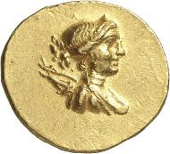 Lot 144: EPHESOS (Ionia). Stater, around 130 B. C. Extremely rare. Extremely fine. Estimate: 25,000,- euros.