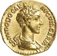 Lot 638: COMMODUS as Caesar, 166-177. Aureus, 172-176. Rev.: LIBERALITAS AVG Liberalitas scene. Brilliant uncirculated. Estimate: 35,000,- euros.
