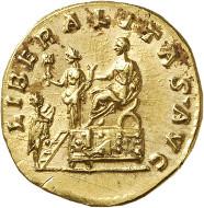 Nr. 638: COMMODUS als Caesar, 166-177. Aureus, 172-176. Rv.: LIBERALITAS AVG Liberalitasszene. Stempelglanz. Taxe: 35.000,- Euro.