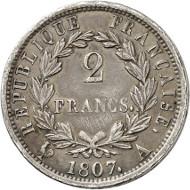Lot 3478: FRANCE. Napoleon I, 1804-1814. 2 francs 1807 A, Paris. Auction Künker 206 (2012), 2867. Very rare. Very fine. Estimate: 2,000,- euros.