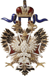 Lot 5261: RUSSIA. Orders and Decorations: Order of the White Eagle. Set of the order's decoration and breast star, not dated (around 1910). I-II. Estimate: 25,000,- euros.