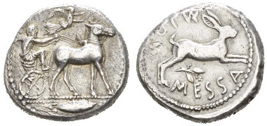 Lot 18: Sicily, Messana Tetradrachm circa 460-426 - Ex CNG 46, 1998, 88 and NAC 78, 2014, 1375 sales. From a private Australian collection. Lightly toned. Very slightly double-struck, otherwise Good Very Fine / Very Fine. Starting bid: £ 700.