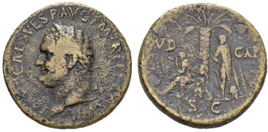 Lot 170: Titus, 79-81. Sestertius 80-81. Very rare. Brown tone and Good Fine. Starting bid: £ 250.