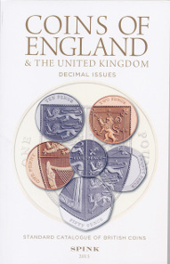 Standard Catalogue of British Coins, 2 Bde., 50. Auflage. Spink, London, 2015. Bd. 1: Coins of England & The United Kingdom. Pre-Decimal Issues: 536 S., 14,3 x 22,3 cm, Hardcover. ISBN: 978-1-907427-43-5. / Bd. 2: Coins of England & The United Kingdom. Decimal Issues: 157 S., 13,7 x 21,6 cm, Paperback. ISBN: 978-1-907427-44-2. Beide Bände durchgehend farbig bebildert. Beide Bücher zusammen: GBP 30.
