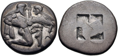 Lot 145: ISLANDS off THRACE, Thasos. Circa 480-463 BC. Stater (20.5mm, 8.54 g). Le Rider, Thasiennes 5; HGC 6, 331. Good VF. From the Patrick H. James Collection. Estimate $500.