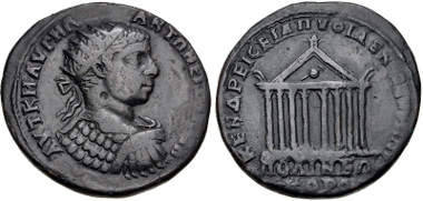 Lot 401: THRACE, Philippopolis. Elagabalus. AD 218-222. Medallion (36mm, 21.56 g, 1h). Varbanov 1665. VF. Rare. From the Dr. George Spradling Collection. Estimate $150.