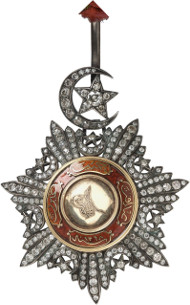 Lot 766: ORDERS / OTTOMAN EMPIRE. Order of Medjidjie. Gem of the 1st Class with brilliants. Very rare. I-II. Estimate: 20,000,- euros.