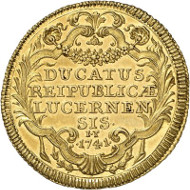 Lot 1899: SWITZERLAND / LUZERN. 2 ducats 1741. Extremely rare. FDC. Estimate: 30,000,- euros.