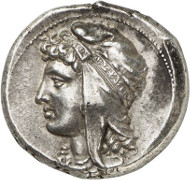 Lot 7079: GREEKS. Siculo-Punians (Siciliy). Tetradrachm, 320-310, mobile mint. Very rare. Extremely fine. Estimate: 25,000,- euros.