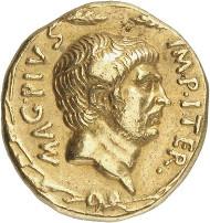 Nr. 7818: RÖMISCHE REPUBLIK. Sextus Pompeius, + 35. Aureus, 37/6, sizilische Münzstätte. Abgebildet bei Bahrfeldt, ZfN 28 (1896), Tf. X, 231. Sehr selten. Gutes sehr schön. Taxe: 100.000,- Euro.