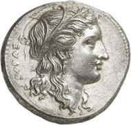 Syracuse. Agathocles, 317-289. Tetradrachm, 304-289. Ierardi 119. Auction Künker 262 (March 13, 2015), 7070, estimated at 5,000 euros. Agathocles used to be the great opponent of Hamilcar for whom the Carthaginian strategist negotiated a treaty with Acragas, Gela and Messana. This coin was minted after Agathocles, after a long war with Carthage, had finally made peace with Hamilcar's successor.