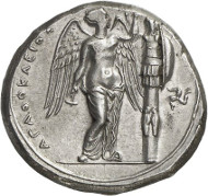 Syrakus. Agathokles, 317-289. Tetradrachme, 304-289. Ierardi 119. Aus Auktion Künker 262 (13. März 2015), 7070, geschätzt mit 5.000 Euro. Agathokles war zunächst der große Gegenspieler Hamilkars, dem der karthagische Stratege einen Frieden mit Akragas, Gela und Messana vermittelte. Diese Münze wurde geprägt, nachdem Agathokles nach einem langen Krieg gegen Karthago mit Hamilkars Nachfolger Frieden geschlossen hatte.