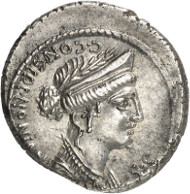 Roman Republic. C. Considius Nonianus. Denarius, 56 B. C. Cr. 424/1. Auction Künker 262 (March 13, 2015), 7674, estimated at 600 euros. In the city of Rome, the Romans built Venus Erycina, as they called her, a temple which this coin depicts.