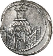 Römische Republik. C. Considius Nonianus. Denar, 56 v. Chr. Cr. 424/1. Aus Auktion Künker 262 (13. März 2015), 7674, geschätzt mit 600 Euro. Der von den Römern auf Stadtgebiet erbaute Tempel der Venus Erycina, wie man sie in Rom nannte, ist auf dieser Münze abgebildet.