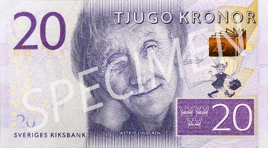 New 20-krona banknote.