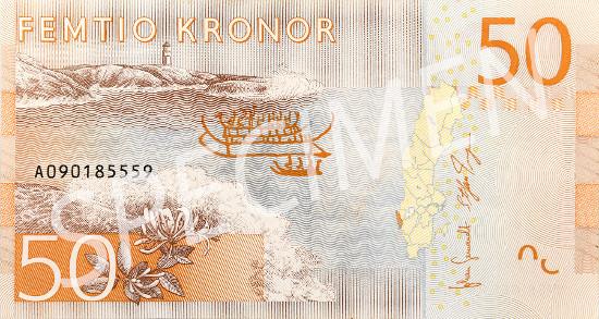 New 50-krona banknote.