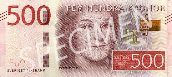 New 500-krona banknote.