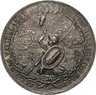 Los 1362: Sachsen, Johann Georg I. 1615-1656. Silbermedaille o.J. (um 1644) (P. Walther). Auf das Ende der Kriegswirren. 49 mm, 21, 67 g. Slg. Engelhardt 822, Slg. Merseburger 1094. Taxe: 1.200 Euro.