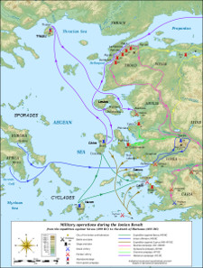 Map of the military operations during the Ionian Revolt which will lead to the Greco-Persian Wars. Source: Eric Gaba / MinisterForBadTimes / http://creativecommons.org/licenses/by-sa/3.0/deed.en