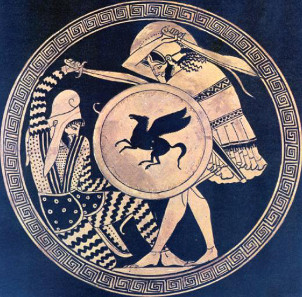 Greek hoplite and Persian warrior fighting each other. Attic red-figure kylix, 5th cent. B. C. Photograph: Wikicommons.