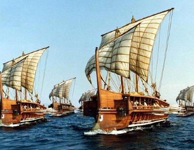 Fleet of triremes made up of photographs of the modern full-sized replica Olympias. Source: Wikicommons.