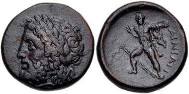 Lot 42: THESSALY, Ainianes. Late 4th-early 3rd centuries BC. Dichalkon Liampi, Beitrag 20; Rogers 137; BCD Thessaly II 31.1; HGC 4, 50. VF, brown patina. From the BCD Collection. Estimate $100.