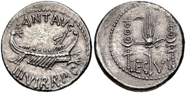 Lot 410: The Triumvirs. Mark Antony. Autumn 32-spring 31 BC. Denarius. Legionary issue. Patrae(?) mint. Crawford 544/19; CRI 356; Sydenham 1223; RSC 33. Good VF, lightly toned, granular surfaces. Estimate $200.