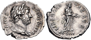 Lot 454: Hadrian. AD 117-138. Denarius. Rome mint. Struck circa AD 119-125. RIC II 363; RSC 917a. Near EF. From the Michael Joffre Collection. Estimate $150.