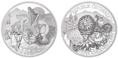 Österreich / 2015 / 10 Euro / Silber Ag 925 / Feingewicht: 16,00 g / Durchmesser: 32,00 mm / Entwurf: Sieger Wettbewerb: 2 b Klasse Neue Mittelschule Rattenberg / Proof / Auflage: 30.000.