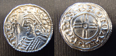 A Cnut coin, Silver penny of Cnut, Short Cross type, moneyer Godman of London. Around 80% of the coins in the hoard are of this type, but from a wide variety of moneyers and mints. © The Trustees of the British Museum.