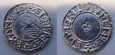 Aethelred type, Silver penny of Aethelred  II, Long Cross type, moneyer Aethelwine of Oxford. © The Trustees of the British Museum.