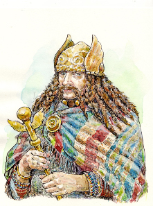 Possible coins of Cassivellaunos may indicate that he perhaps had plaited hair, a winged helmet and a winged sceptre. Illustration by Jane Bottomley.
