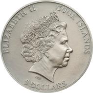 Cook Islands / 2015 / 5 Dollars / Silber .999 / 1 Unze / 38,61 mm / Antik-Finish / Auflage: 999 Stück.