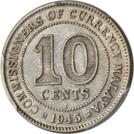 MALAYA. 10 Cents, 1945-I. PCGS EF-45 Secure Holder. KM-4a; Tan-MAC6; Prid-9a; Boon-KN6f (plate coin). Extremely Rare. Estimate: $8,000 - $10,000.