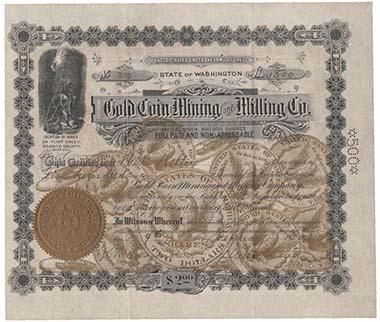 Mit 2 Dollar konnte man im Jahr 1898 Teilhaber der Gold Coin Mining & Milling Co. werden, die in Montana angesiedelt war.
