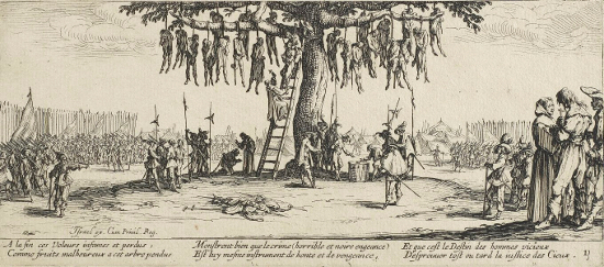 Jacques Callot, The Great Miseries of War 11: The Hanging, 1632.