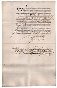 The Vereenigde Oostindische Compagnie was the first stock corporation of modern economic history; here you see a bond from the year 1623.