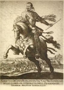 Equestrian portrait of Albrecht of Wallenstein. Copperplate print, 1625/1628.