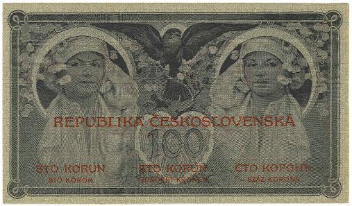 Los 1598: Tschechoslowakei, Republik 100 Kronen, 15.4.1919, mit Wasserzeichen Rauten. Ausruf: 150 Euro, Zuschlag: 3.600 Euro.