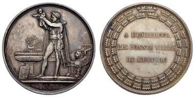 Los 1674: Frankreich, silbernes Medaillon auf die Taufe des Königs von Rom (1811). Ausruf: 500 Euro, Zuschlag: 1.600 Euro.