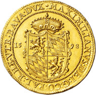 BAYERN, HERZOGTUM Maximilian I. 1598-1623, München. 8 Dukaten 1598. vz. Taxe: EUR 25.000, Zuschlag EUR 67.500.
