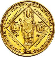 FREISING, HOCHSTIFT Johann Franz Eckher Fhr. von Kapfing. 1695-1727, 12 Dukaten 1724 zum 1000jährigen Bestehen des Bistums. vz-ss. Taxe: EUR 20.000, Zuschlag: EUR 32.000.