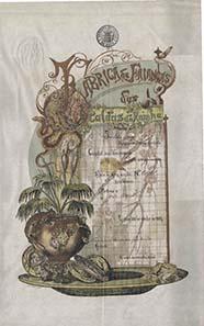 Der portugiesische Jugenstilkünstler Rafael Bordallo-Pinheiro gestaltete diese anspruchsvolle Lithographie im 11-Farbendruck.