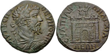 Lot 328: THRACE, Anchialus. Septimius Severus. AD 193-211. VF. Very rare. From the Dr. George Spradling Collection. Estimate: $150.