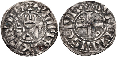 Lot 628: FRANCE, Royal. Philippe I. 1060-1108. Denier. First type. Aurelianis (Orléans) mint. Duplessy 50. VF, toned. From the Michael Joffre Collection. Estimate: $100.