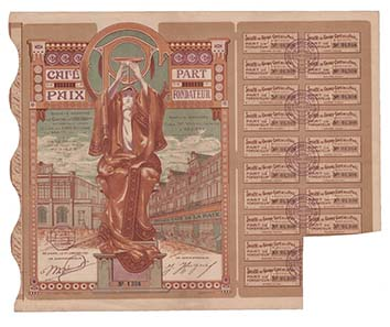 Vom Erfolg des berühmten Pariser Café de la Paix profitieren wollte die Société du Grand Café de la Paix S. A. 1920 in Béziers.