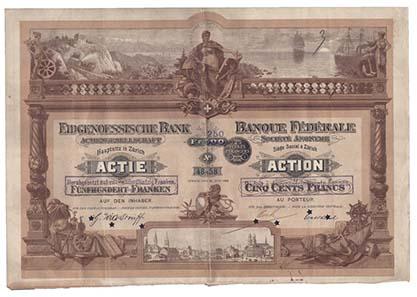 Die 1864 gegründete Eidgenössische Bank wurde durch einen großen Skandal bekannt. 1869 unterschlug ein Buchhalter die damals unglaublich Summe von 3 Millionen Franken.