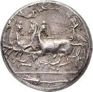 Syrakus. Dionysios I., 405-367 v. Chr. Tetradrachme 405/399 v. Chr., unsignierte Arbeit des Stempelschneiders Eukleidas(?). Dewing Coll. 850; Tudeer 83. Sehr schön.