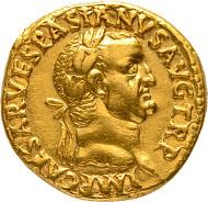 Rom. Vespasianus, 69-79. Aureus 71, Lyon. C. 97; RIC II/1, 1111. Vorzüglich.